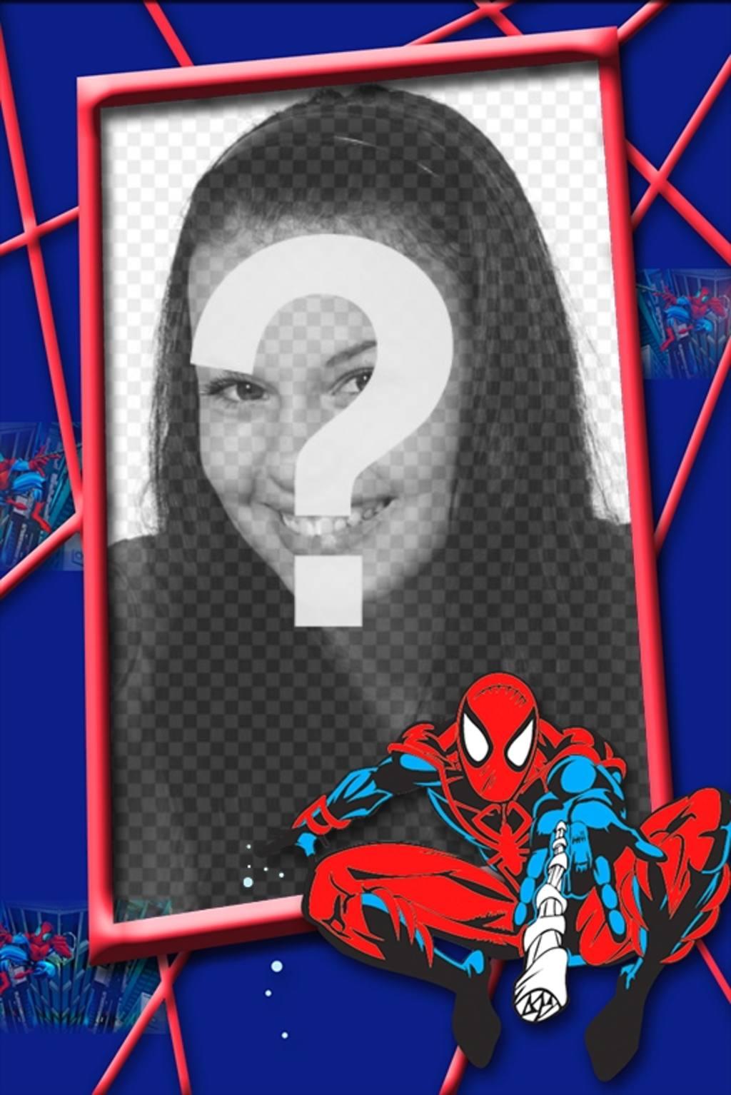 Marco de fotos infantil de Spiderman con rojos y azules en una ...