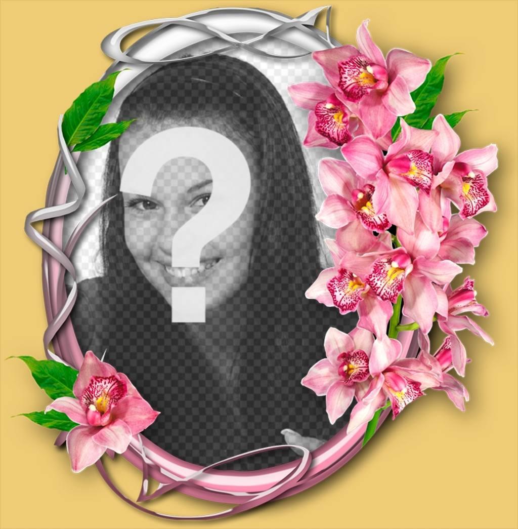 Marco de fotos con orquídeas sobre un circulo ornamentado en fondo beige