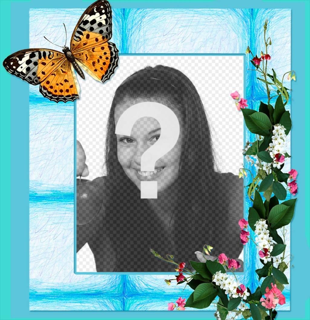 marco fotos flores gran mariposa fondo azul