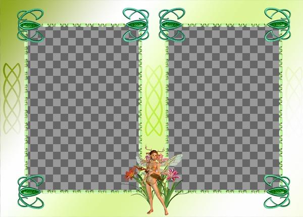 Cuadro con dos fotos, con hada de adorno y fondo verde