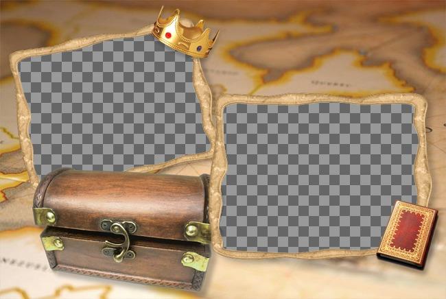 Marco para fotos de cofre del tesoro con un mapa de fondo