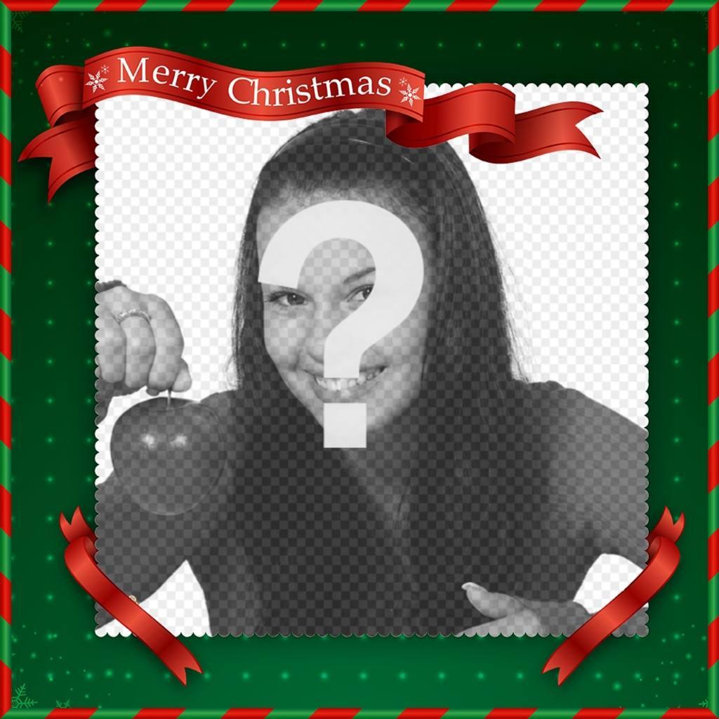 Marco para fotos de navidad con el mensaje Merry Christmas - Fotoefectos