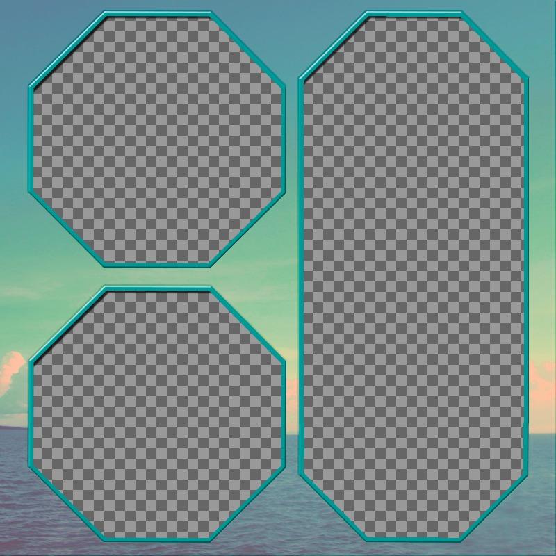 Tres marcos hexagonales para tus fotos