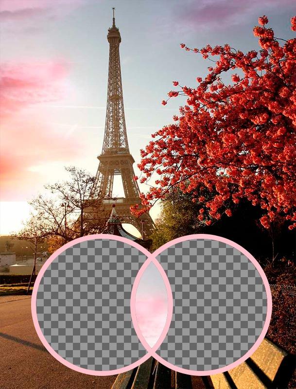 Fotomontaje romántico con la Torre Eiffel
