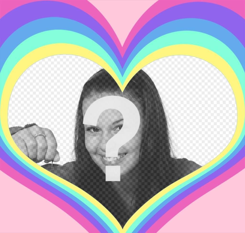 Marco para fotos de un corazón con un arco iris - Fotoefectos