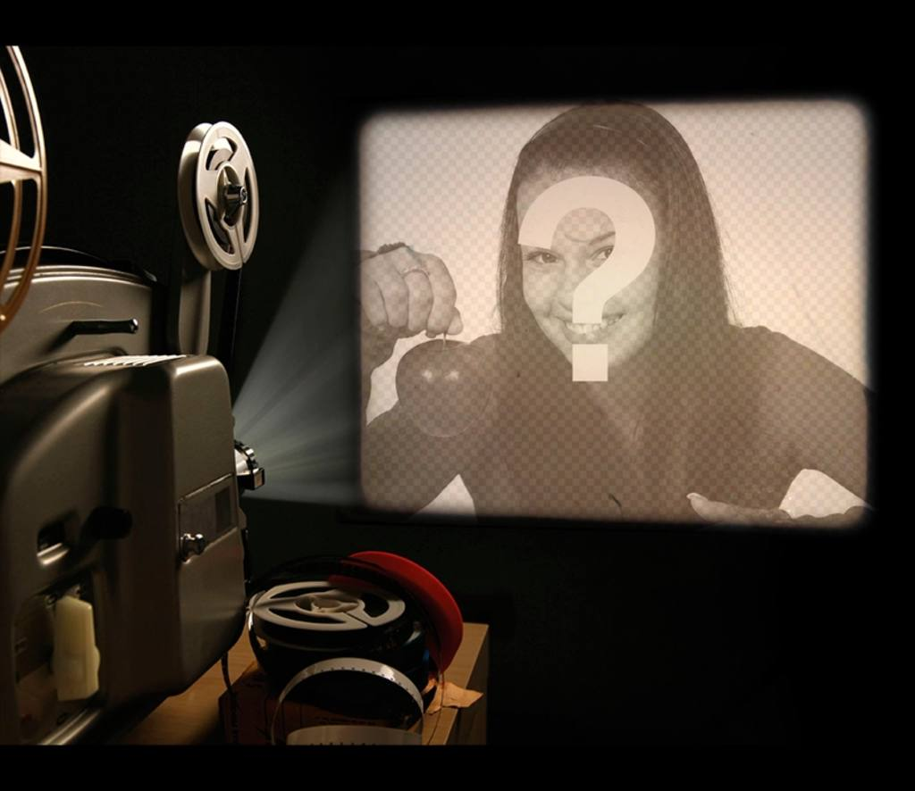 Fotomontaje para poner tu foto en la pantalla de un proyector antiguo
