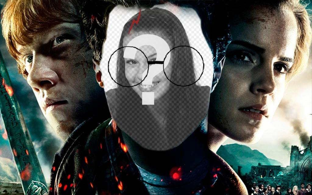 Fotomontaje con la cara de Harry Potter