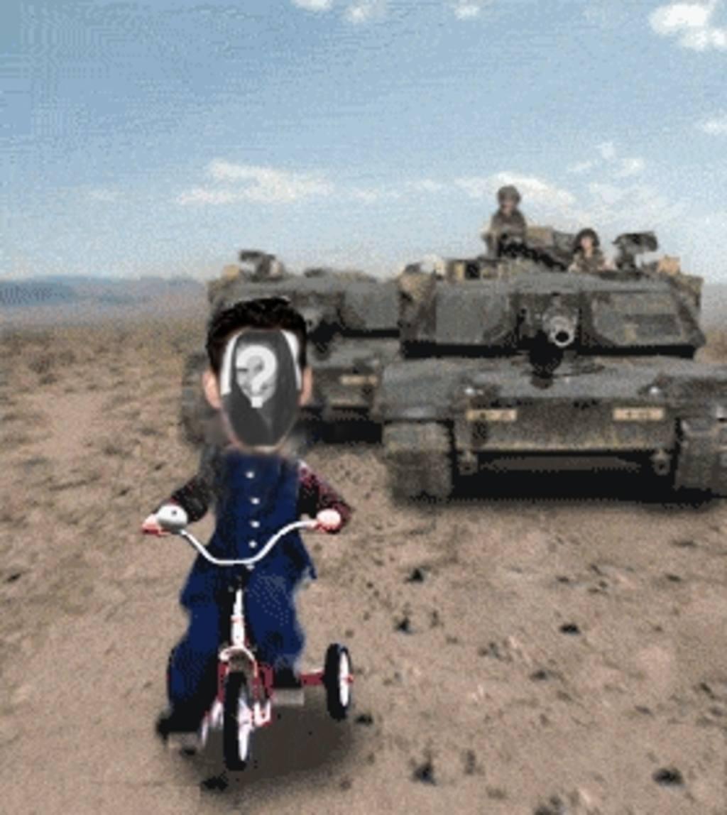 Animación personalizada de Saddam Hussein perseguido por un tanque