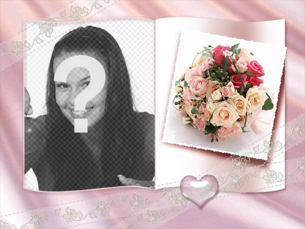 Marco fotográfico con forma de libro con corazoncito, y centro de rosas de adorno