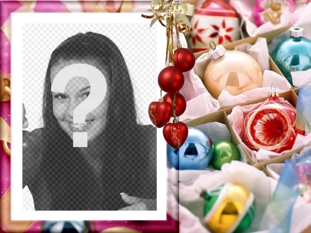 fotos postal estilo christmas inserta foto marco adornos navidad ve un racimo bolas rojas corazones colgando cinta color oro