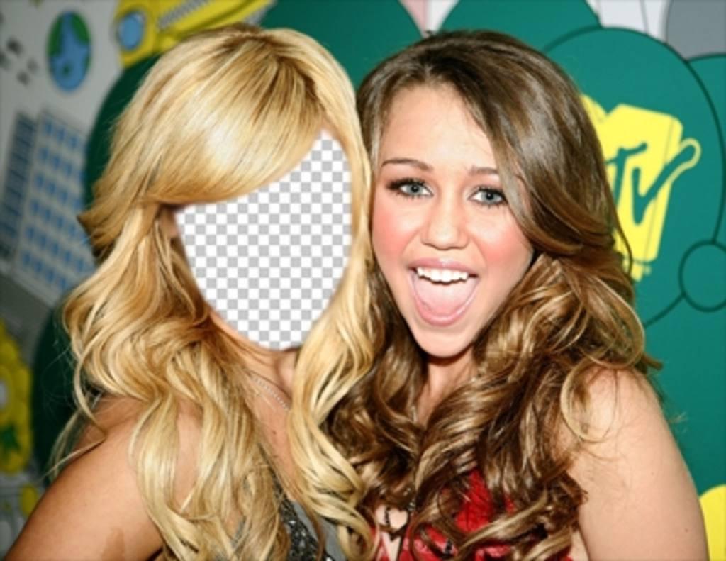 Fotomontaje donde podrás poner tu cara en Ashley Tisdale junto a Miley Cyrus