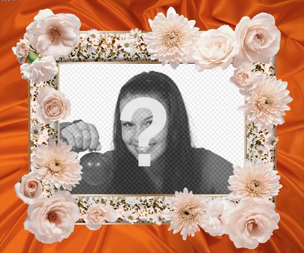 marco fotos flores blancas tela detras