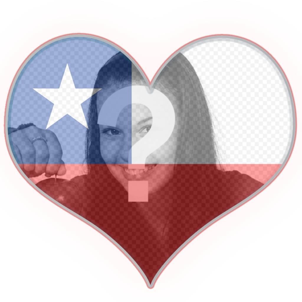 Collage con la bandera de Chile en forma de corazón