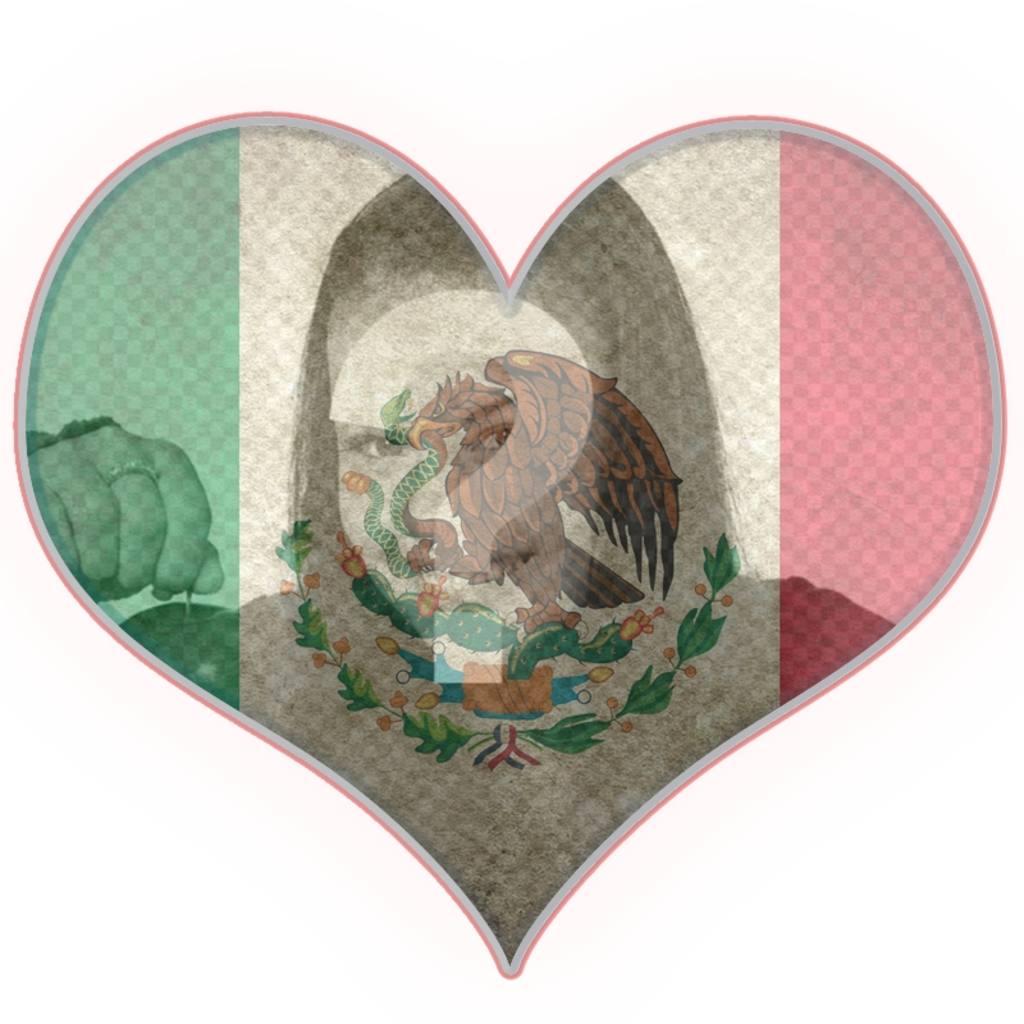 fotomontaje forma corazon bandera mexico
