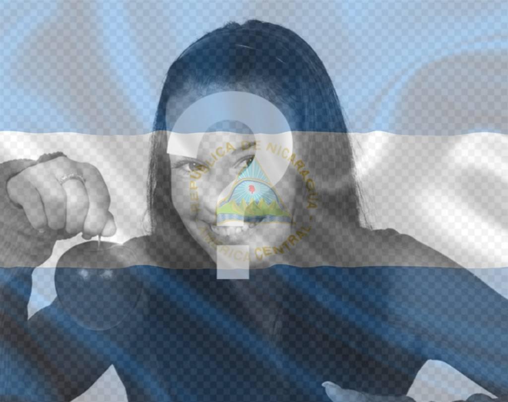 Bandera ondeando de Nicaragua para tu foto