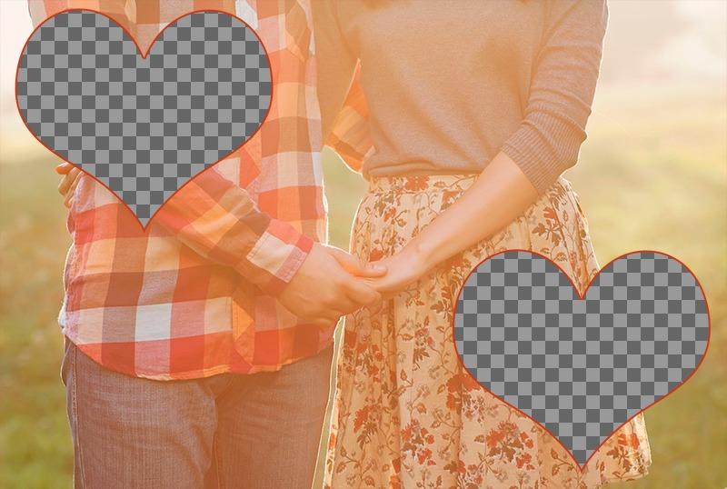 Collage De Amor Para Dos Fotos Con Una Pareja Cogiéndose