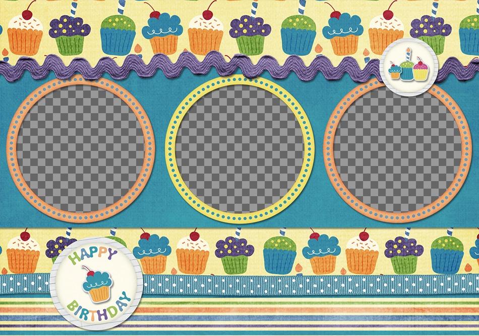 Postal de cumpleaños para 3 fotos con cupcakes