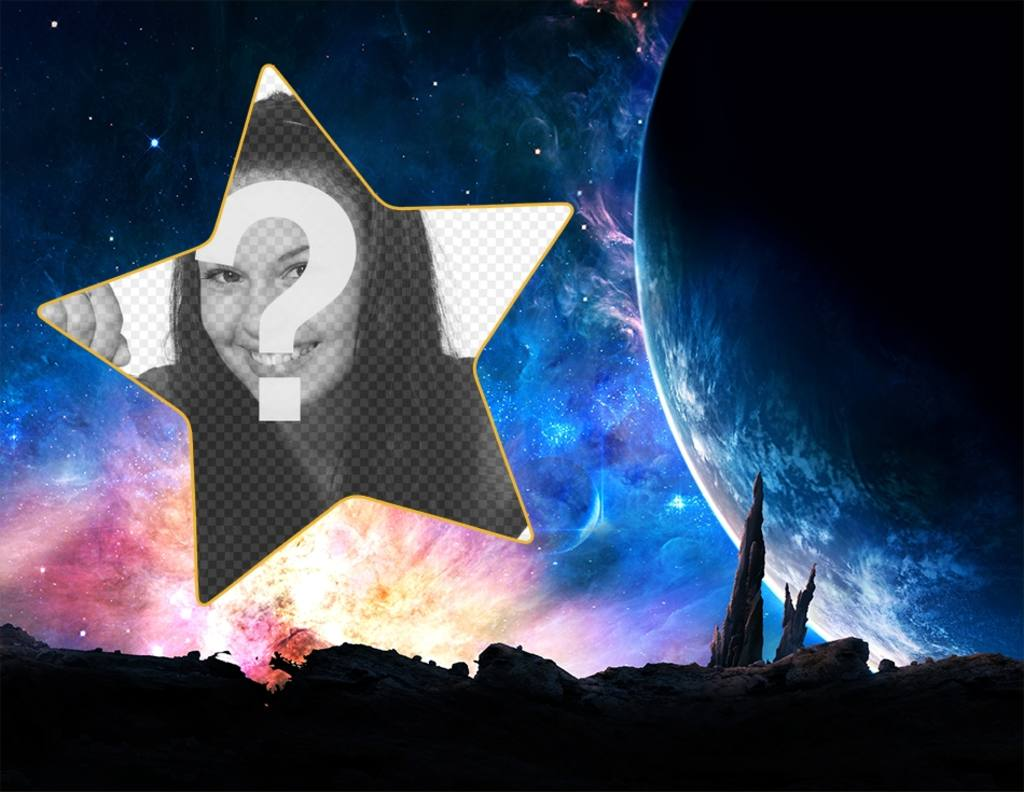 Fotomontaje en la galaxia para poner tu foto en una estrella