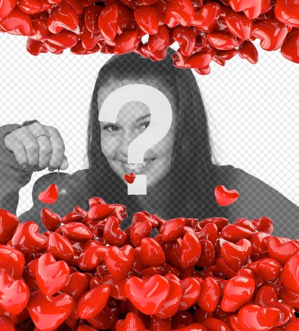 Marco de fotos con globos rojos en forma de corazón