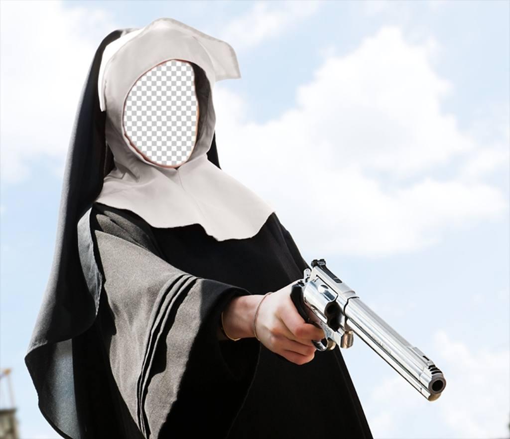 Divertido fotomontaje de una monja con una pistola en la - Pistola para lacar ...
