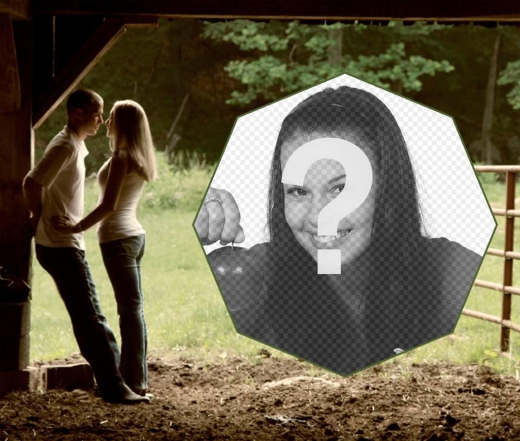 Marco de amor con una pareja en un granero - Fotoefectos