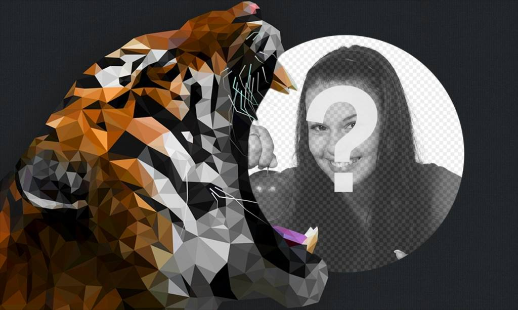 Marco para fotos en el que tu foto aparecerá junto con un tigre ...