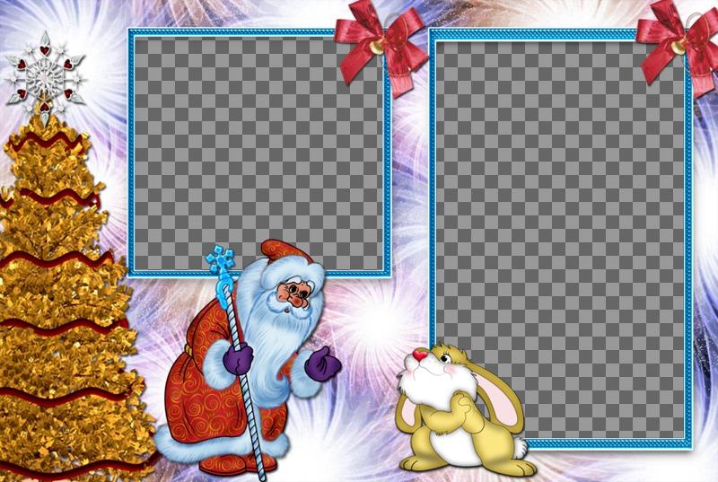 Collage infantil de Navidad para dos fotos