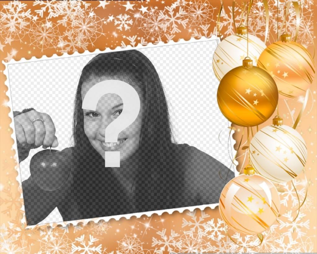 Pon tu foto en un marco decorado con adornos navideños - Fotoefectos