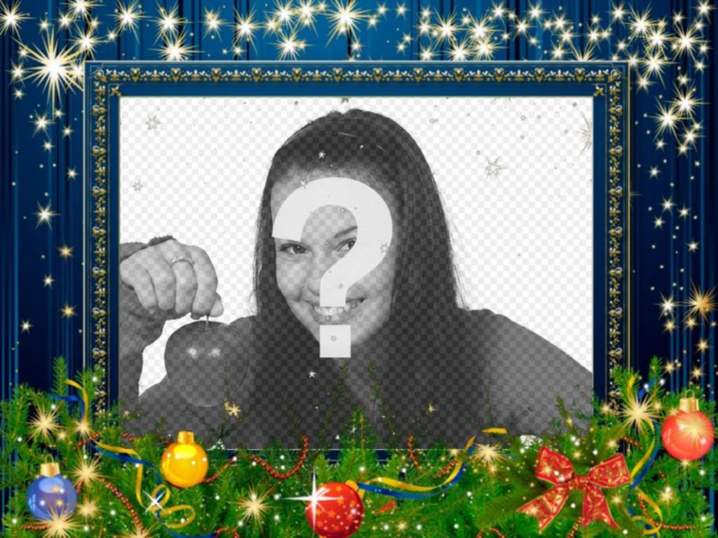 Marco azul para decorar fotos de Navidad - Fotoefectos
