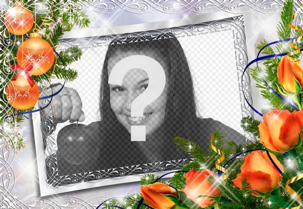 Marco de fotos para navidad con bolas y flores naranja - Bola de navidad con foto ...