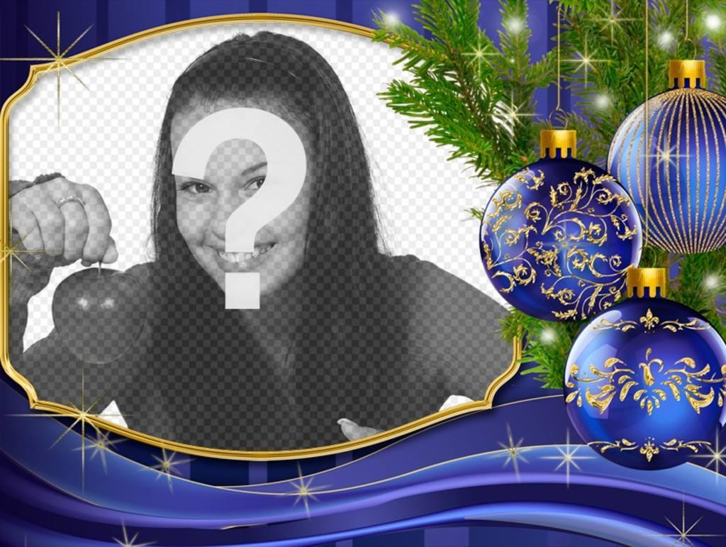 Pon tu foto junto a esta postal de Navidad con adornos