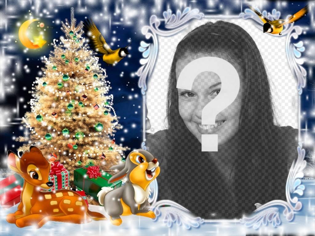 Postal de Navidad para poner tu foto con Bambi