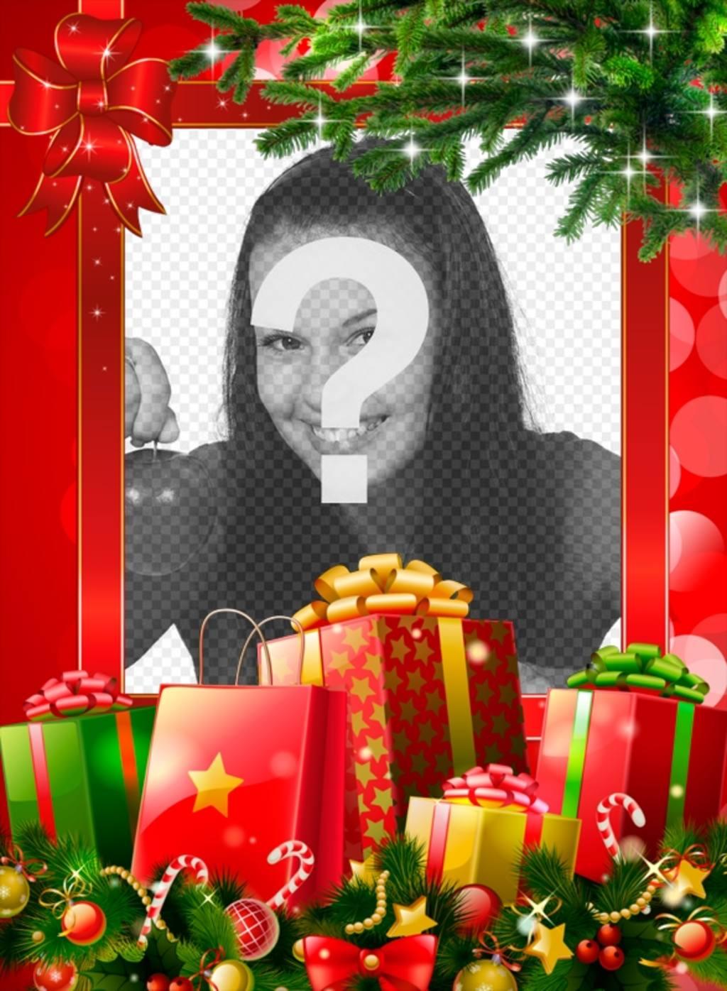 Marco de Navidad con muchos regalos para personalizar con tu foto