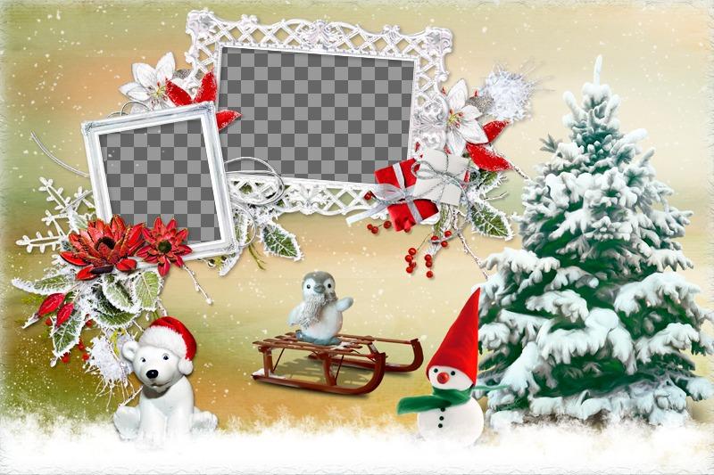 Marcos Para Fotos De Arbol De Navidad.Collage De Navidad Con Dos Marcos De Fotos Al Lado De Un