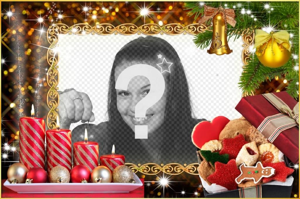 Marco de fotos de Navidad con cuatro velas y guirnaldas navideñas ...