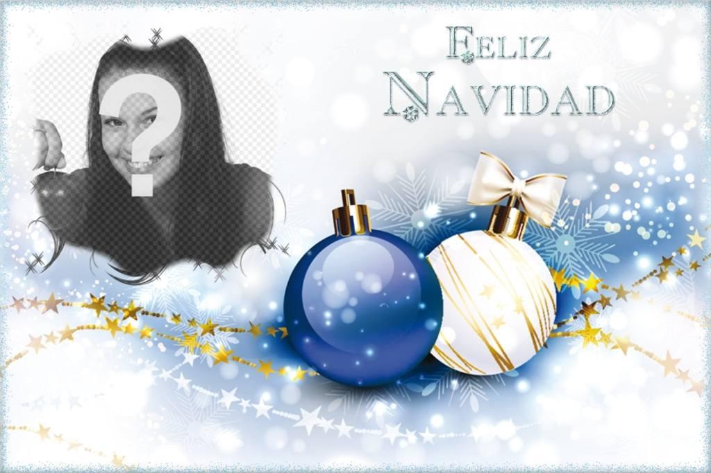 Felicitación navideña con tu foto y el texto Feliz Navidad