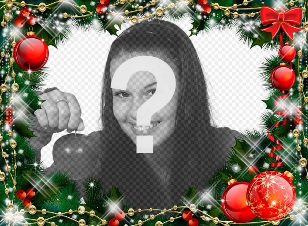 marco de fotos con una guirnalda de navidad - Guirnalda De Navidad