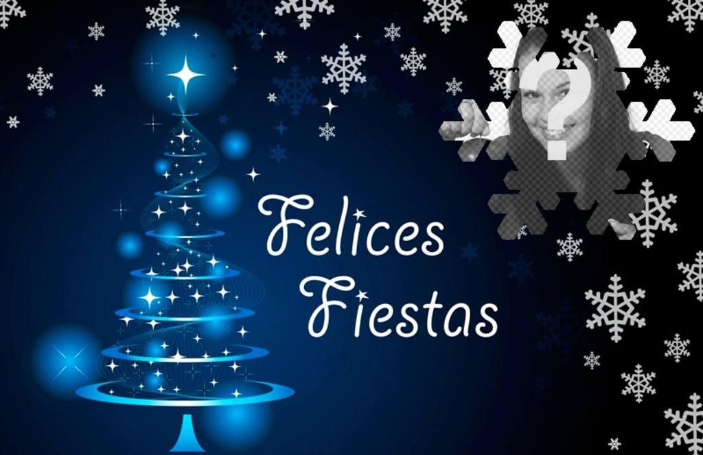 postal felicitar navidad foto texto felices fiestas