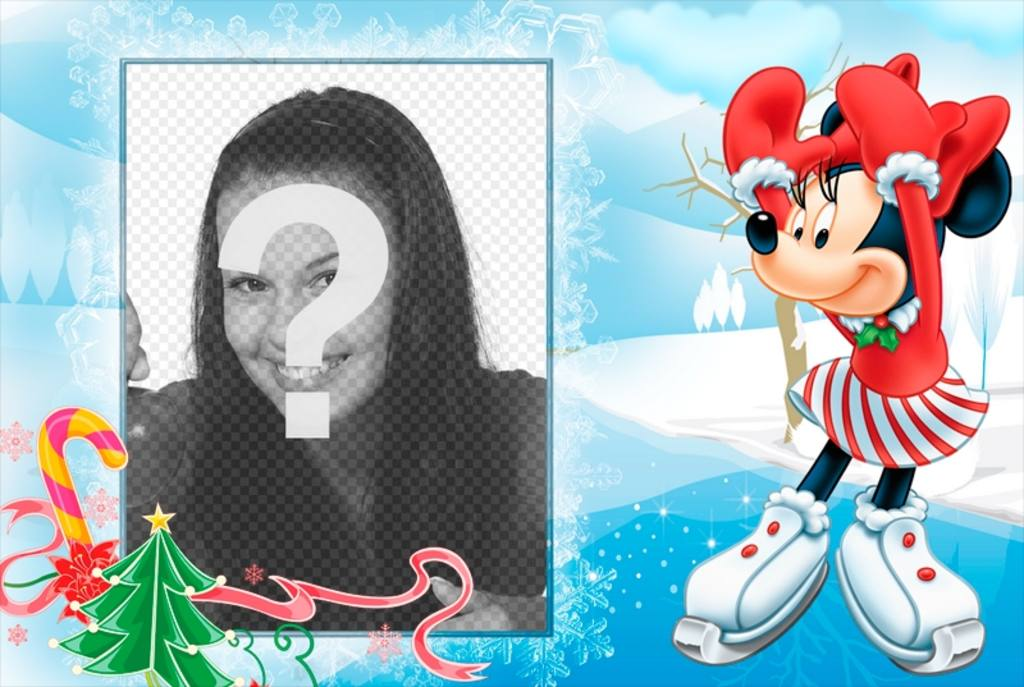 Postal de Navidad infantil con tu foto y Minnie