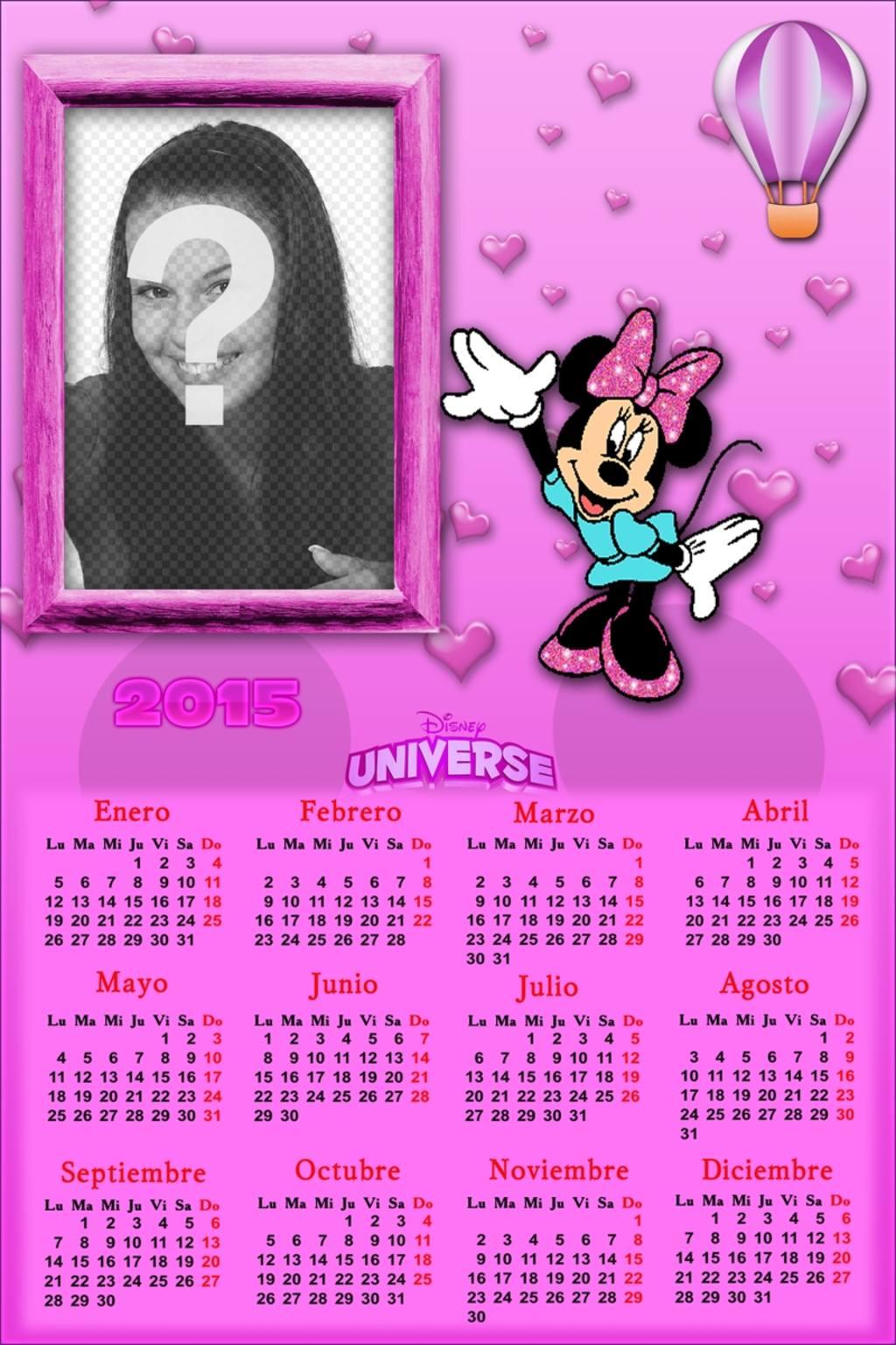calendario 2015 poner foto minnie