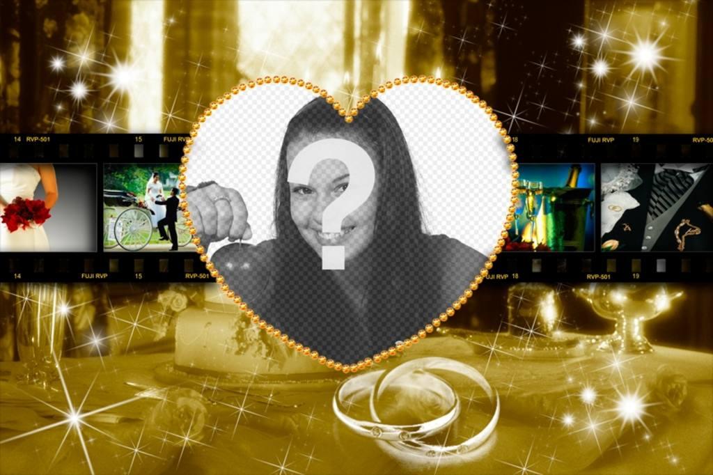 Marco de fotos para novios personalizable con un corazón en el ...