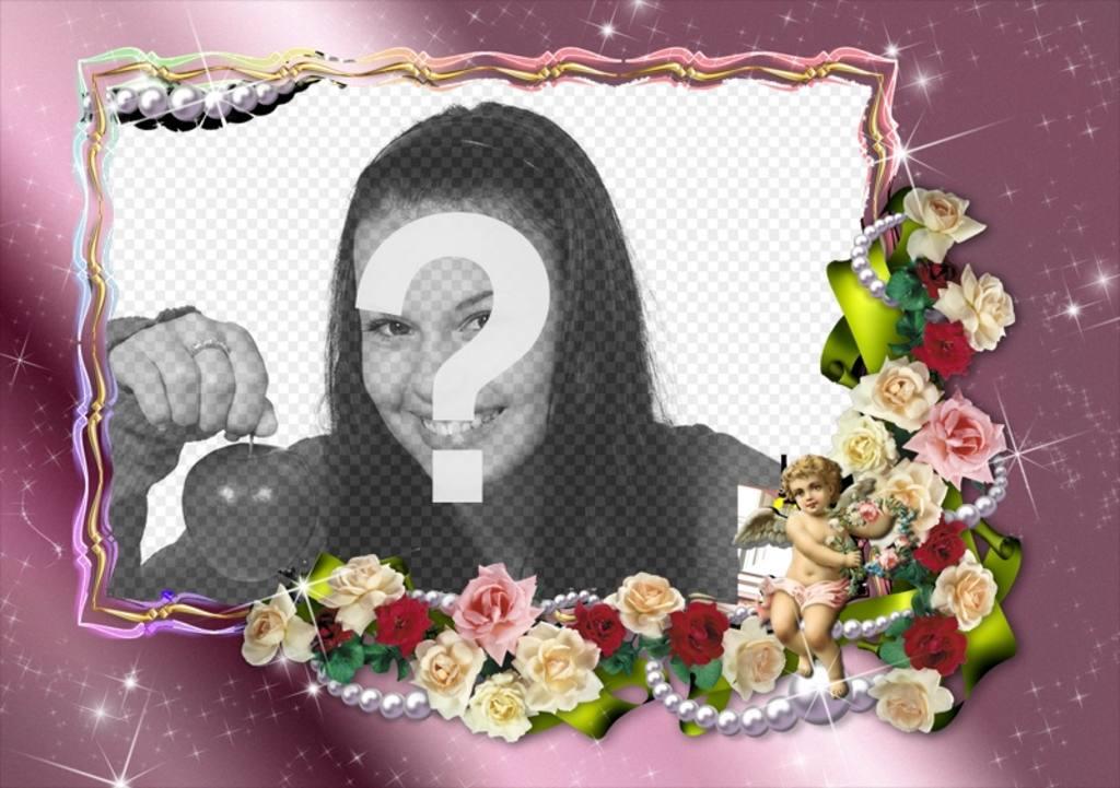Marco de fotos para personalizar con flores y un ángel - Fotoefectos