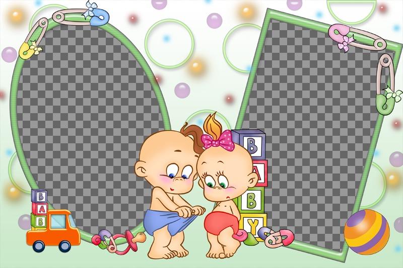 Collage de bebes para personalizar con dos fotos
