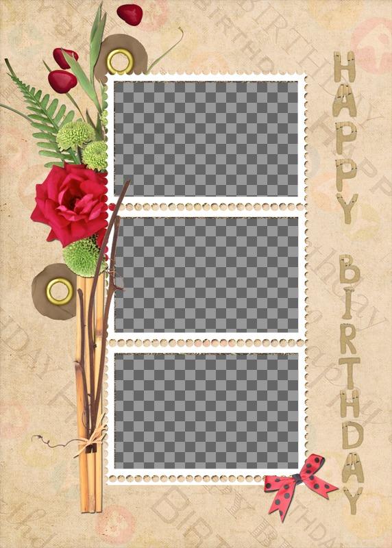 Collage de cumpleaños con tres fotos