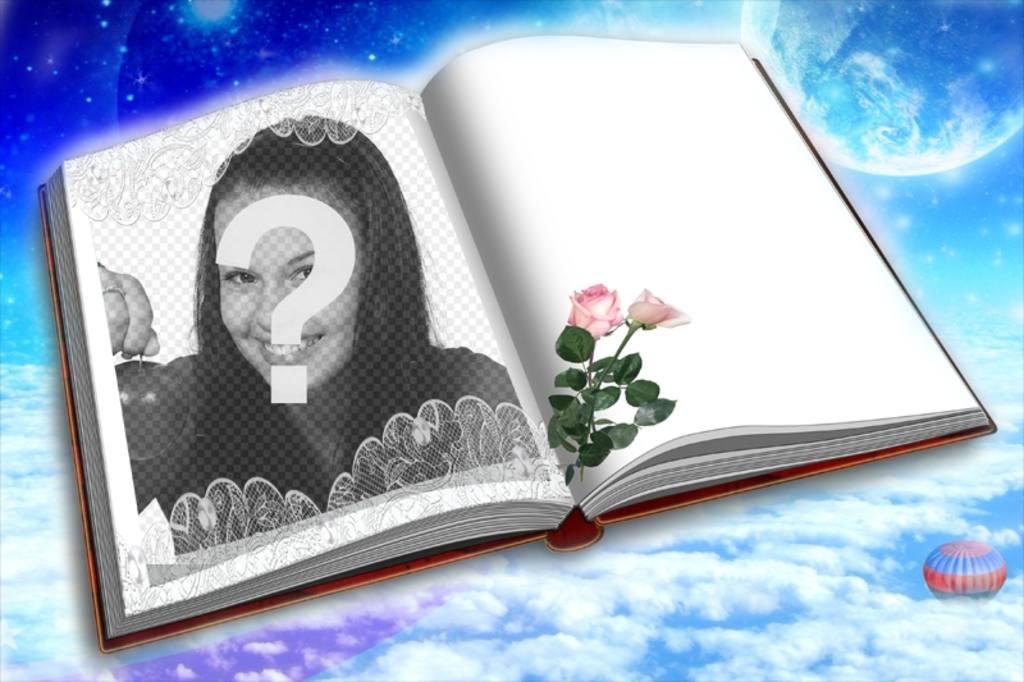 Fotomontaje para poner tu foto en un libro con dos rosas