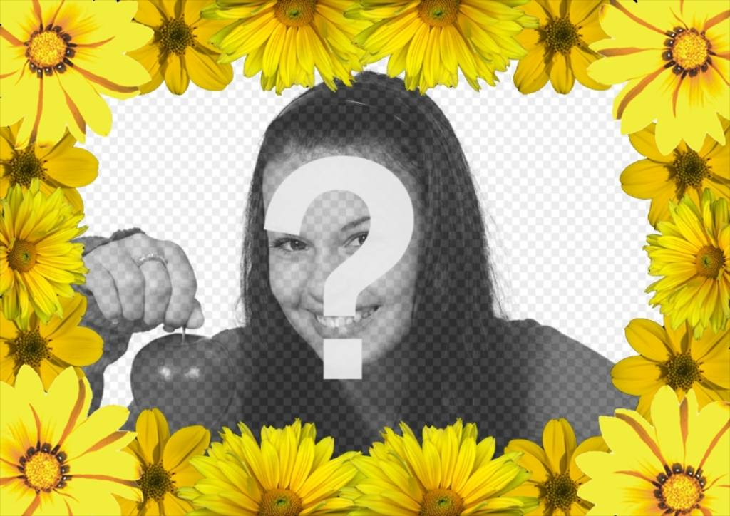 Marco de fotos para personalizar con margaritas amarillas - Fotoefectos