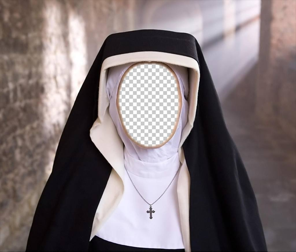 Fotomontaje de una monja para poner la foto de tu cara