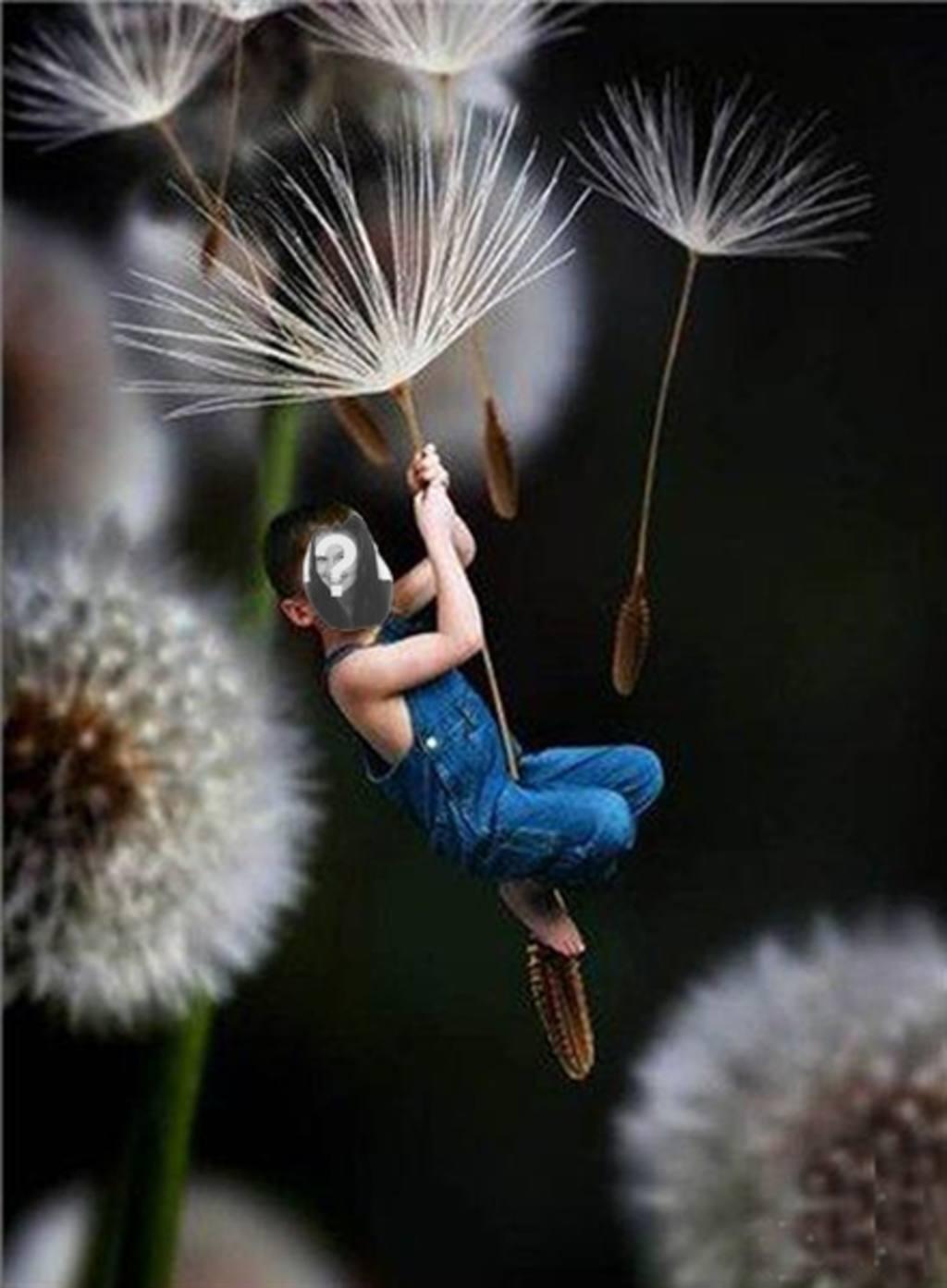 fotomontaje nino volando poner foto un nino