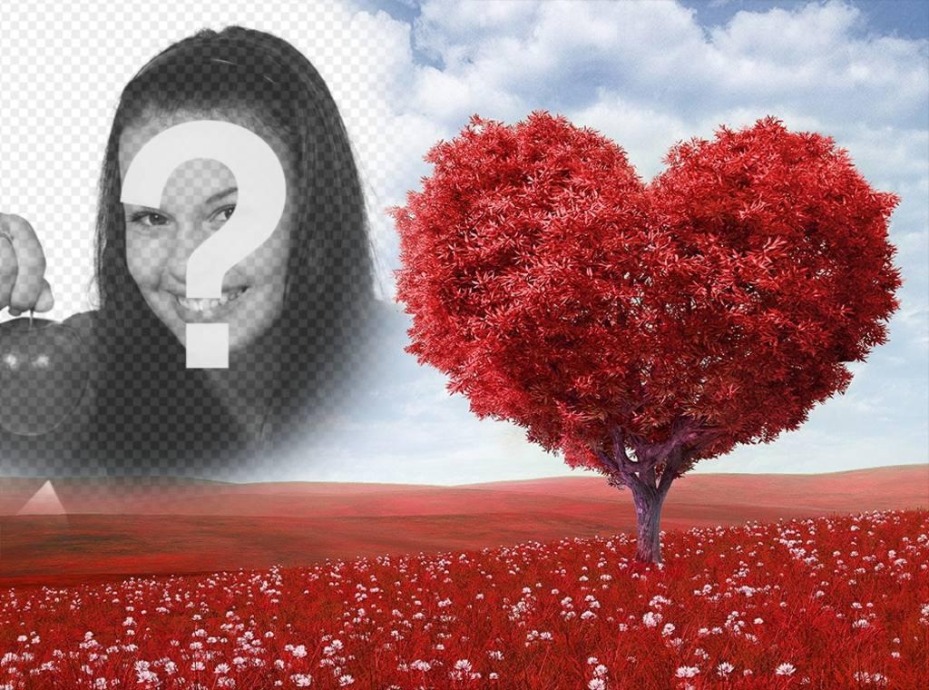 Fotomontaje de paisaje con arbol en forma de corazón