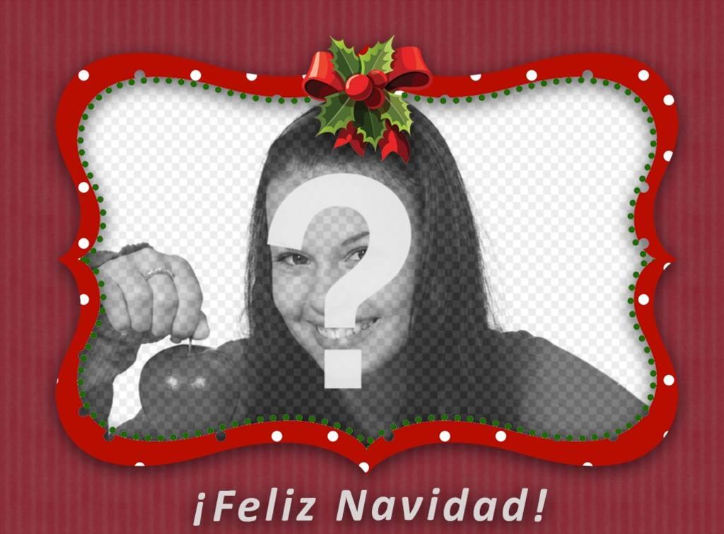 Marco rojo con lazo de Navidad para poner tu foto - Fotoefectos